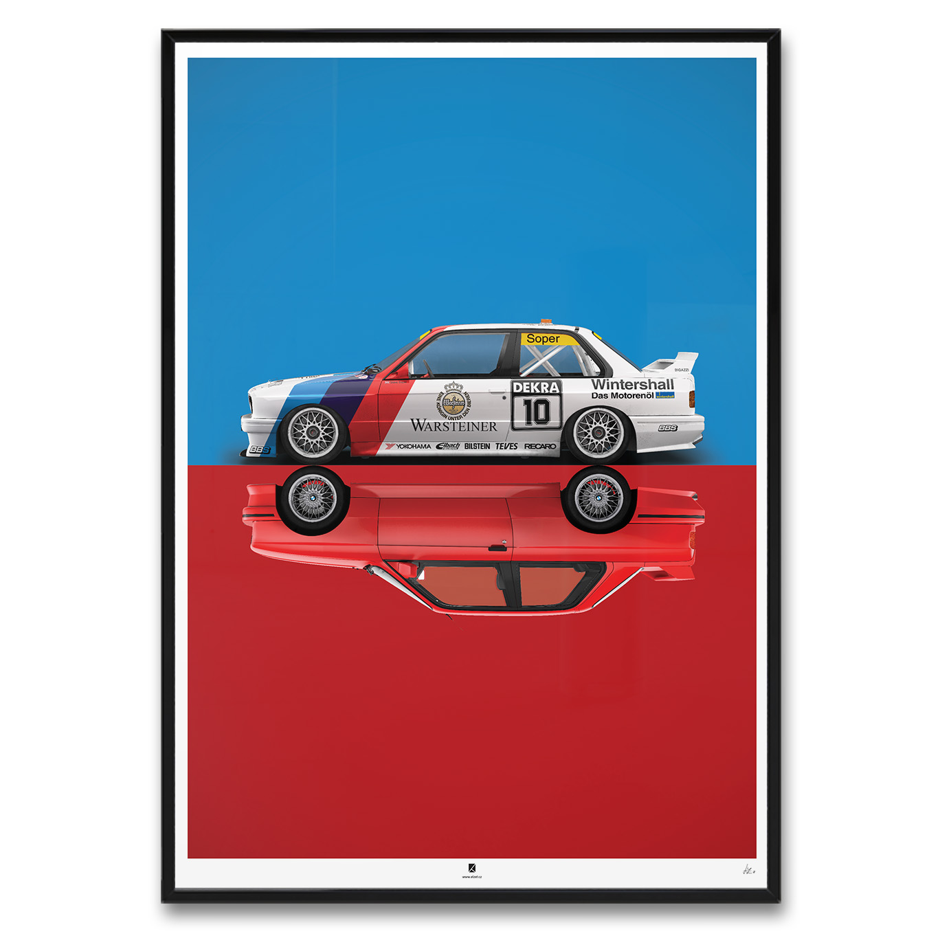 Bmw E30 M3 Race Stock Clean Mirror Framed Elzet